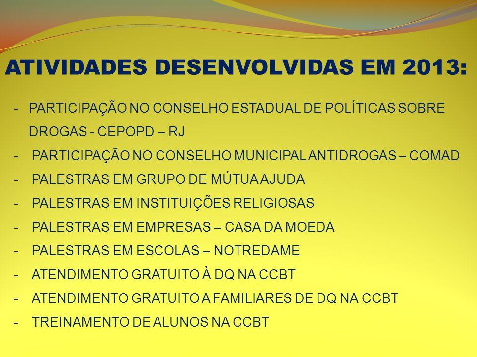 ATIVIDADES DESENVOLVIDAS EM 2013: -PARTICIPAÇÃO NO CONSELHO ESTADUAL DE POLÍTICAS SOBRE DROGAS - CEPOPD – RJ -PARTICIPAÇÃO NO CONSELHO MUNICIPAL ANTID