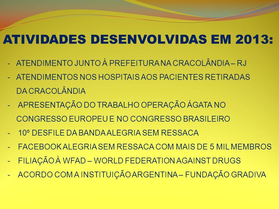 ATIVIDADES DESENVOLVIDAS EM 2013: -ATENDIMENTO JUNTO À PREFEITURA NA CRACOLÂNDIA – RJ -ATENDIMENTOS NOS HOSPITAIS AOS PACIENTES RETIRADAS DA CRACOLÂND