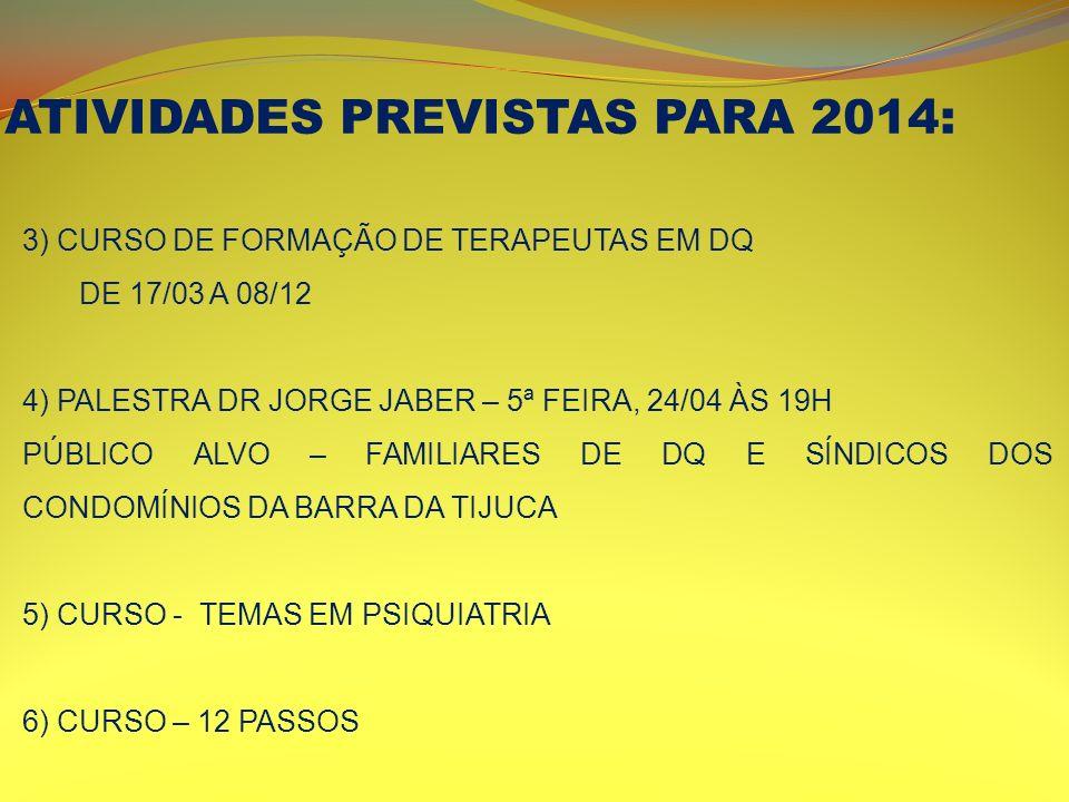 ATIVIDADES PREVISTAS PARA 2014: 3) CURSO DE FORMAÇÃO DE TERAPEUTAS EM DQ DE 17/03 A 08/12 4) PALESTRA DR JORGE JABER – 5ª FEIRA, 24/04 ÀS 19H PÚBLICO