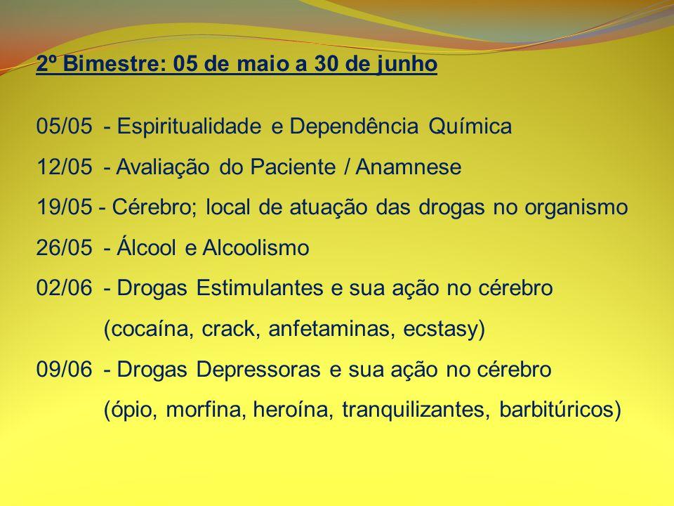 2º Bimestre: 05 de maio a 30 de junho 16/06- Drogas Alucinógenas e sua ação no cérebro (LSD, maconha, Santo Daime, chás alucinógenos) 23/06- Tabagismo 30/06- Emergência no Uso de Drogas - Problemas Médicos FÉRIAS: 01 de julho a 31 de julho