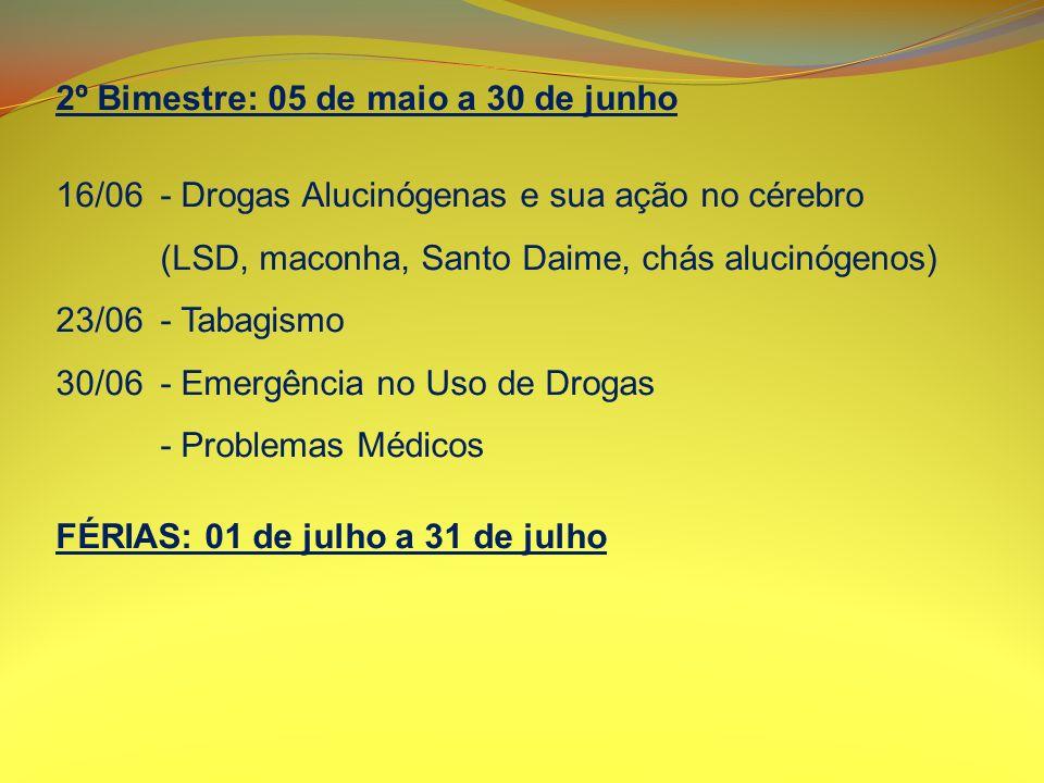 2º Bimestre: 05 de maio a 30 de junho 16/06- Drogas Alucinógenas e sua ação no cérebro (LSD, maconha, Santo Daime, chás alucinógenos) 23/06- Tabagismo