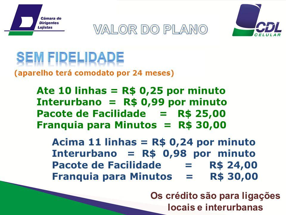 Ate 10 linhas = R$ 0,25 por minuto Interurbano = R$ 0,99 por minuto Pacote de Facilidade = R$ 25,00 Franquia para Minutos = R$ 30,00 Acima 11 linhas =