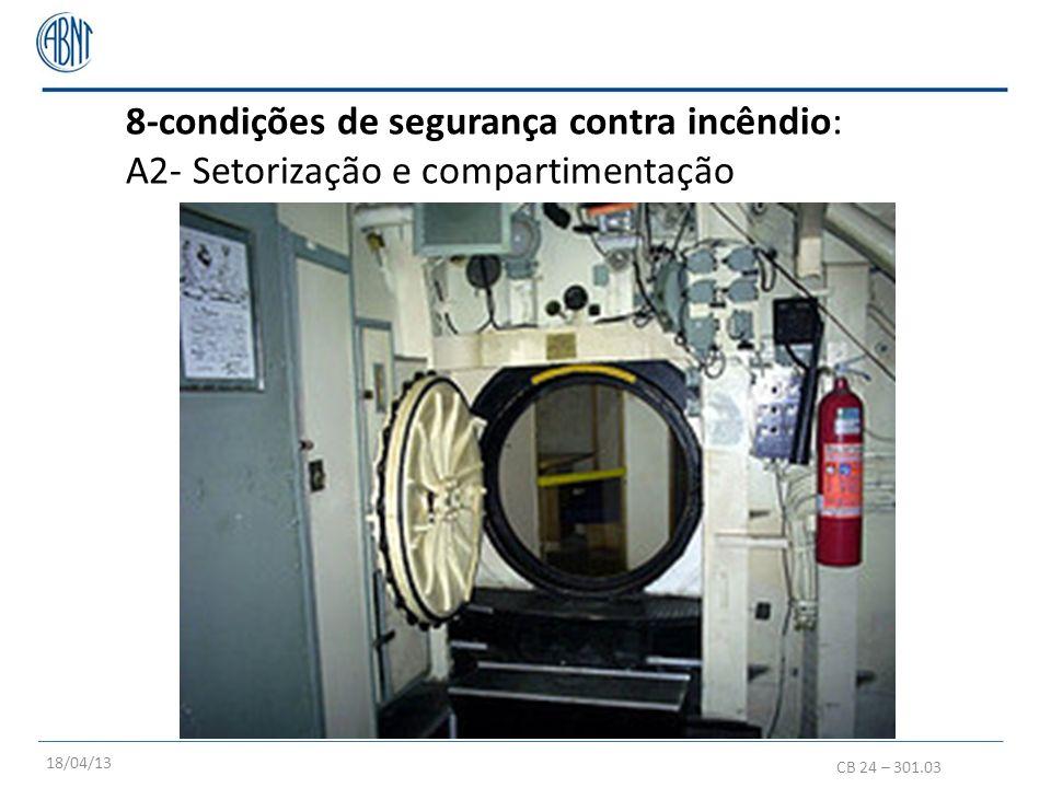 8-condições de segurança contra incêndio: A2- Setorização e compartimentação CB 24 – 301.03 18/04/13