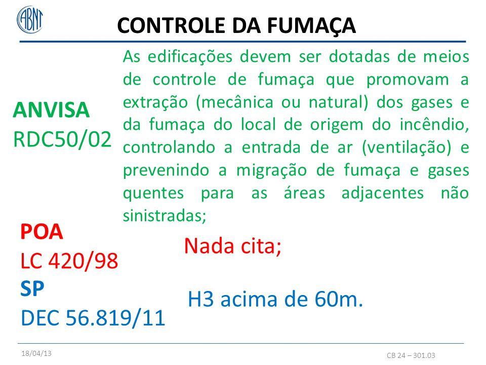CONTROLE DA FUMAÇA CB 24 – 301.03 POA LC 420/98 SP DEC 56.819/11 As edificações devem ser dotadas de meios de controle de fumaça que promovam a extraç