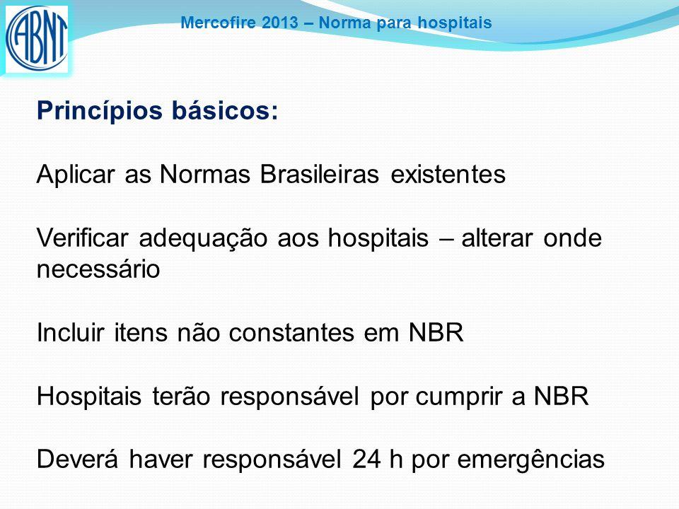 Mercofire 2013 – Norma para hospitais Princípios básicos: Aplicar as Normas Brasileiras existentes Verificar adequação aos hospitais – alterar onde ne