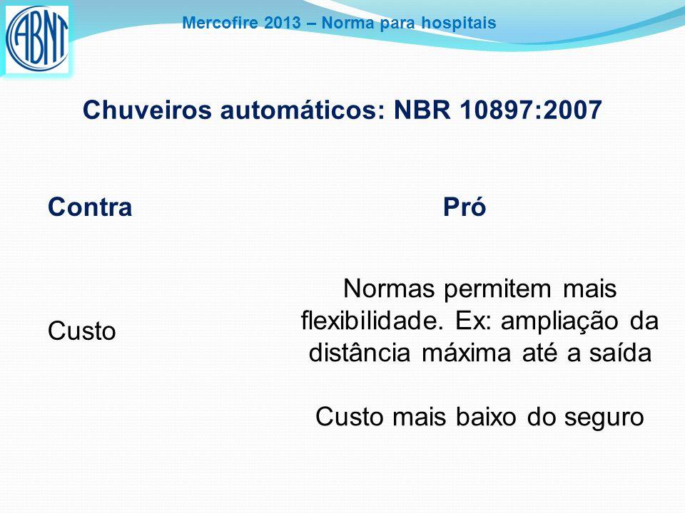 Mercofire 2013 – Norma para hospitais Chuveiros automáticos: NBR 10897:2007 Contra Pró Custo Normas permitem mais flexibilidade. Ex: ampliação da dist