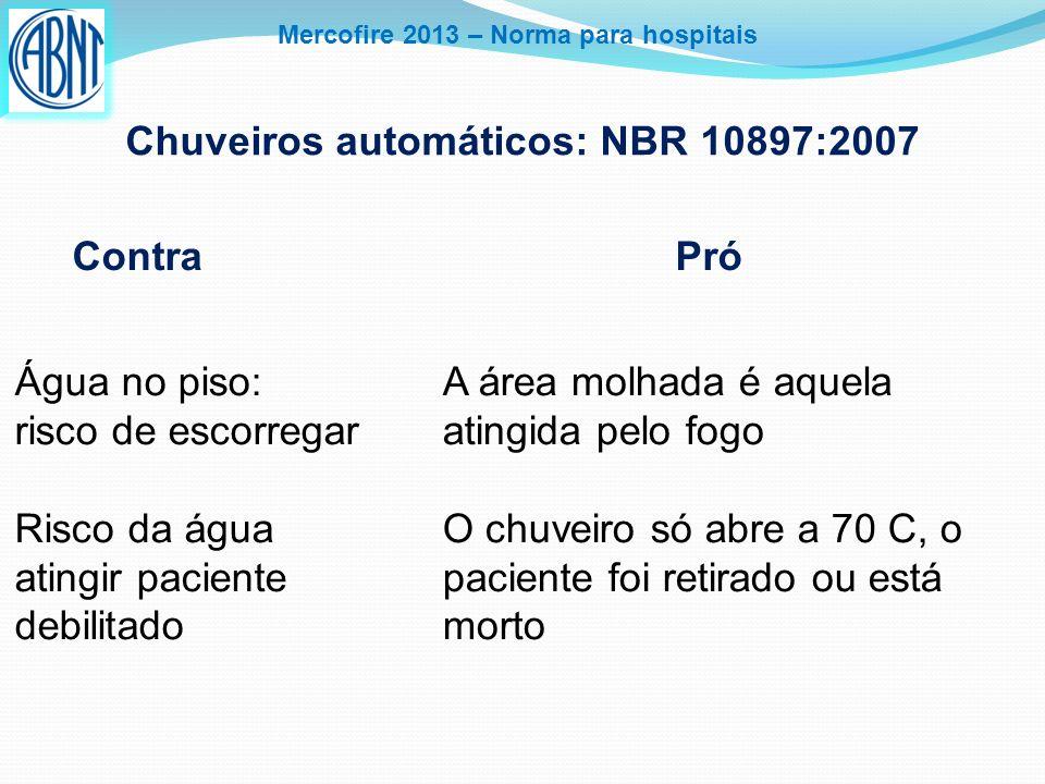 Mercofire 2013 – Norma para hospitais Chuveiros automáticos: NBR 10897:2007 Contra Pró Água no piso: risco de escorregar Risco da água atingir pacient