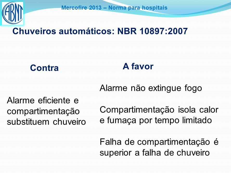 Mercofire 2013 – Norma para hospitais Chuveiros automáticos: NBR 10897:2007 Contra Alarme eficiente e compartimentação substituem chuveiro A favor Ala