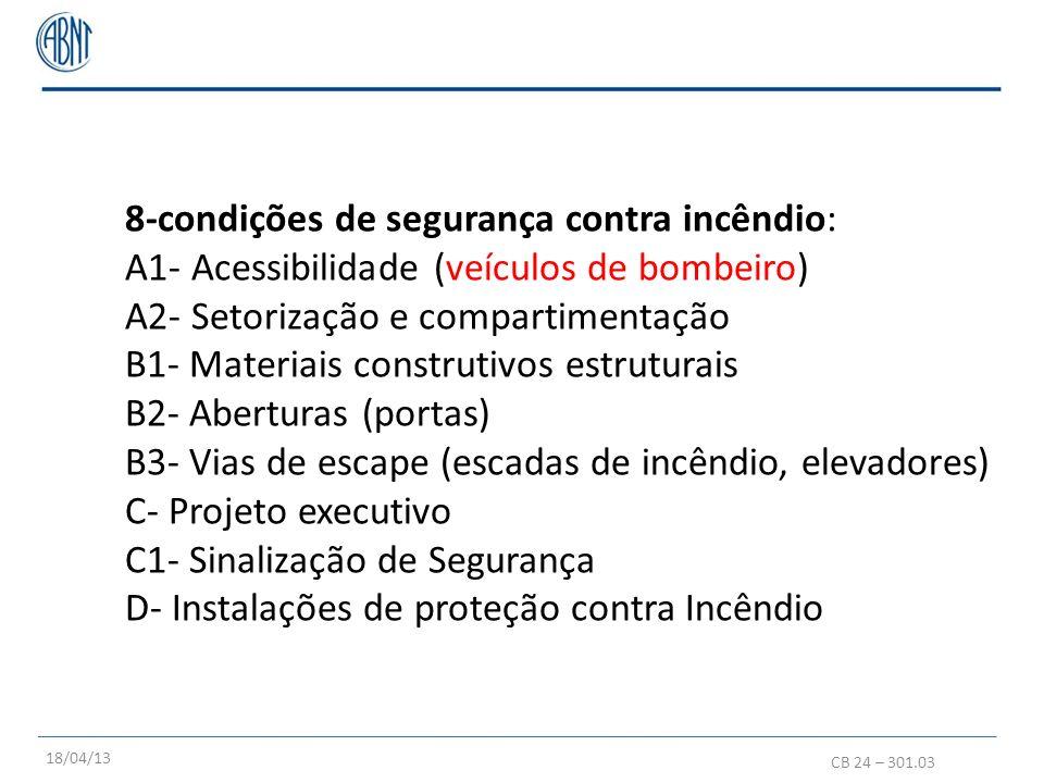 8-condições de segurança contra incêndio: A1- Acessibilidade (veículos de bombeiro) A2- Setorização e compartimentação B1- Materiais construtivos estr