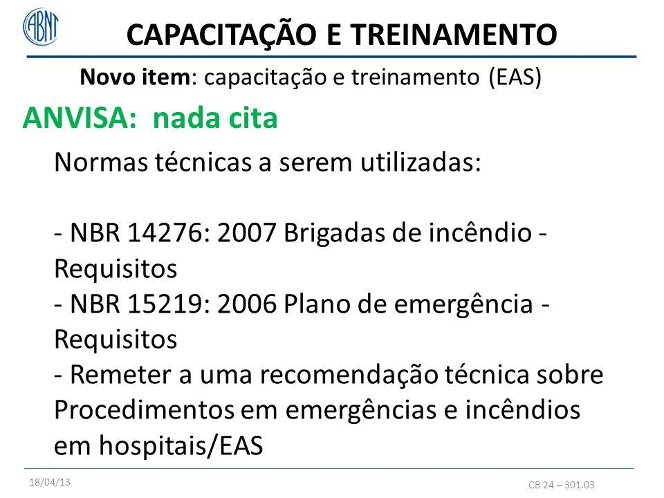 CB 24 – 301.03 Normas técnicas a serem utilizadas: - NBR 14276: 2007 Brigadas de incêndio - Requisitos - NBR 15219: 2006 Plano de emergência - Requisi