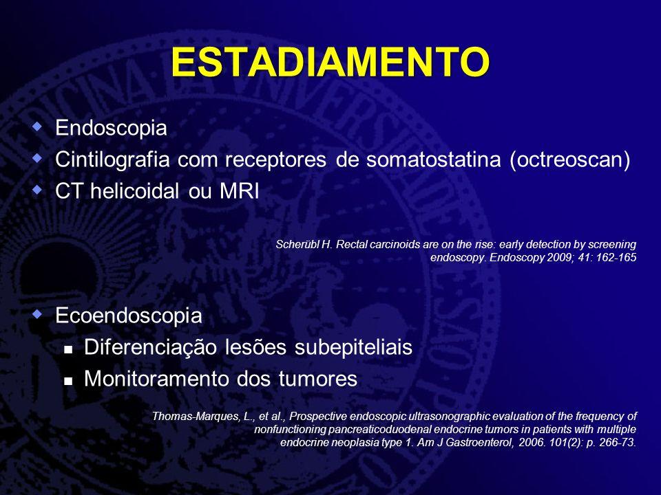 ESTADIAMENTO Endoscopia Cintilografia com receptores de somatostatina (octreoscan) CT helicoidal ou MRI Scherübl H. Rectal carcinoids are on the rise: