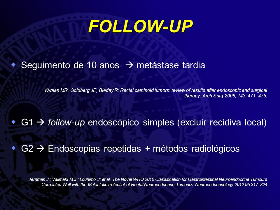 FOLLOW-UP Seguimento de 10 anos metástase tardia Kwaan MR, Goldberg JE, Bleday R: Rectal carcinoid tumors: review of results after endoscopic and surgical therapy.