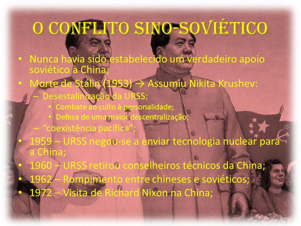 O Conflito sino-soviético Nunca havia sido estabelecido um verdadeiro apoio soviético à China; Morte de Stálin (1953) Assumiu Nikita Krushev: – Desest