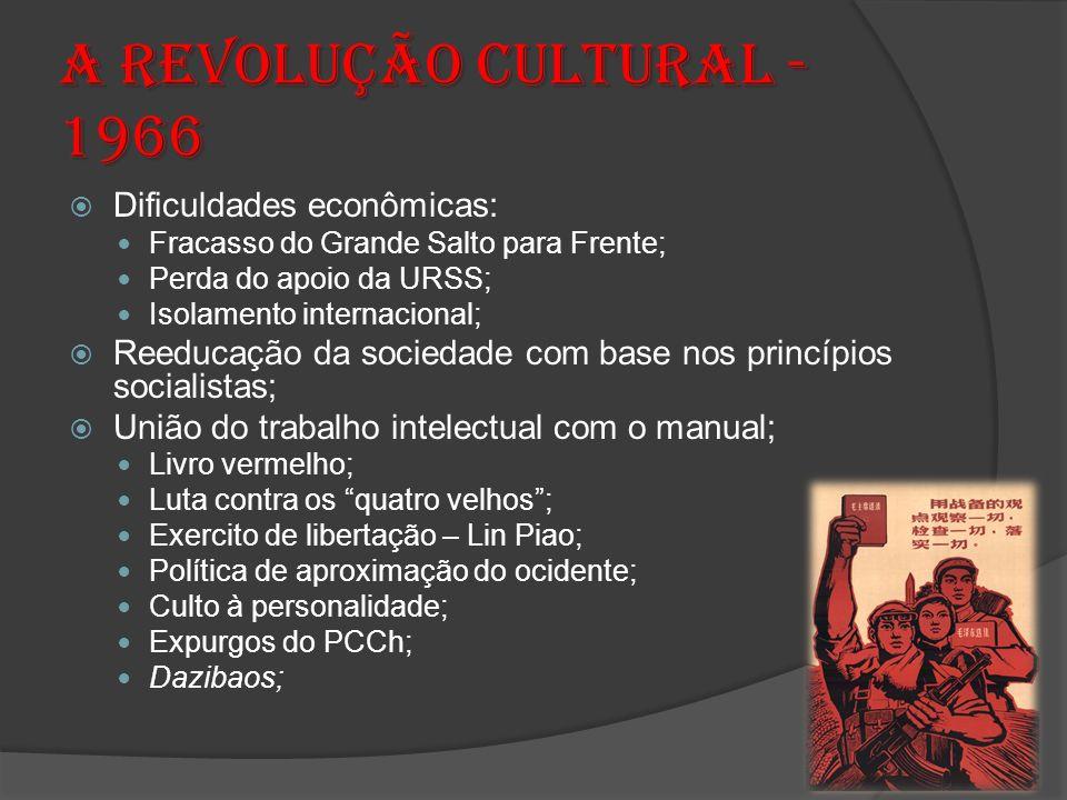 ARevolução Cultural - 1966 A Revolução Cultural - 1966 Dificuldades econômicas: Fracasso do Grande Salto para Frente; Perda do apoio da URSS; Isolamen