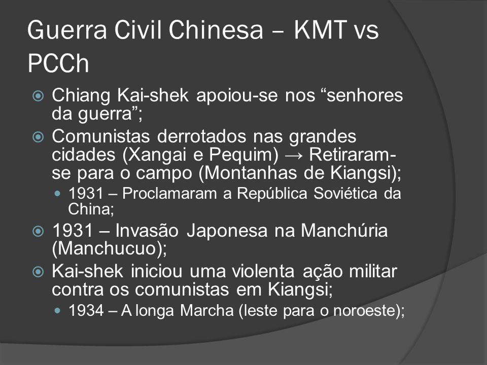 Guerra Civil Chinesa 1937 – ameaça de invasão total dos Japoneses; – Aliança entre o KMT e o PCCh contra os japoneses (1937 a 1945); PCCh ganhou prestigio popular na luta contra os japoneses; 1945 – Rendição do Japão e retomada da guerra civil; – Kuomintang era apoiado pelos norte-americanos; – Comunistas tinham o apoio de esmagadora parcela da população (não tiveram apoio soviético); – Kai-shek fugiu para ilha de Formosa; 1949 – República Popular da China;