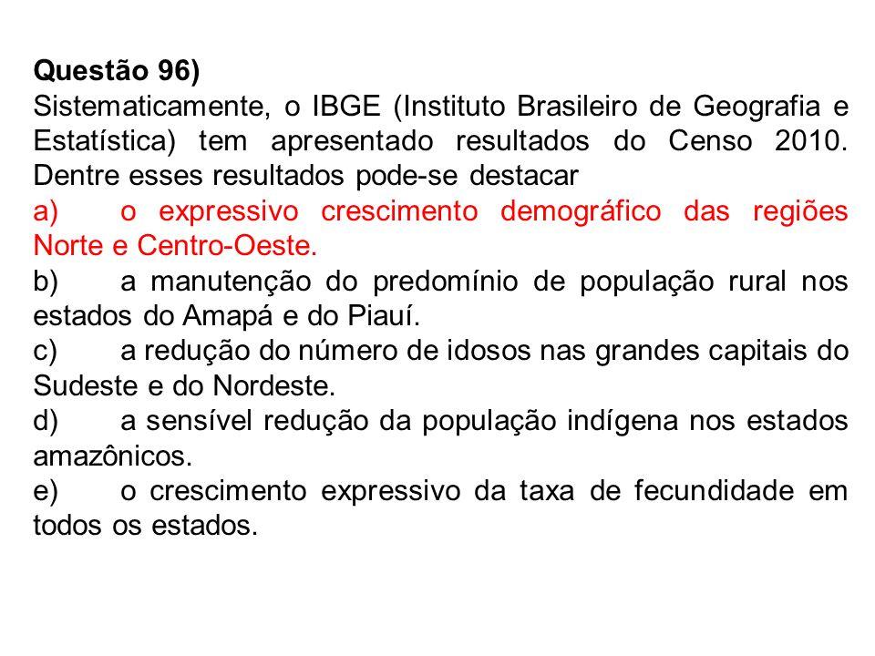 Questão 96) Sistematicamente, o IBGE (Instituto Brasileiro de Geografia e Estatística) tem apresentado resultados do Censo 2010.