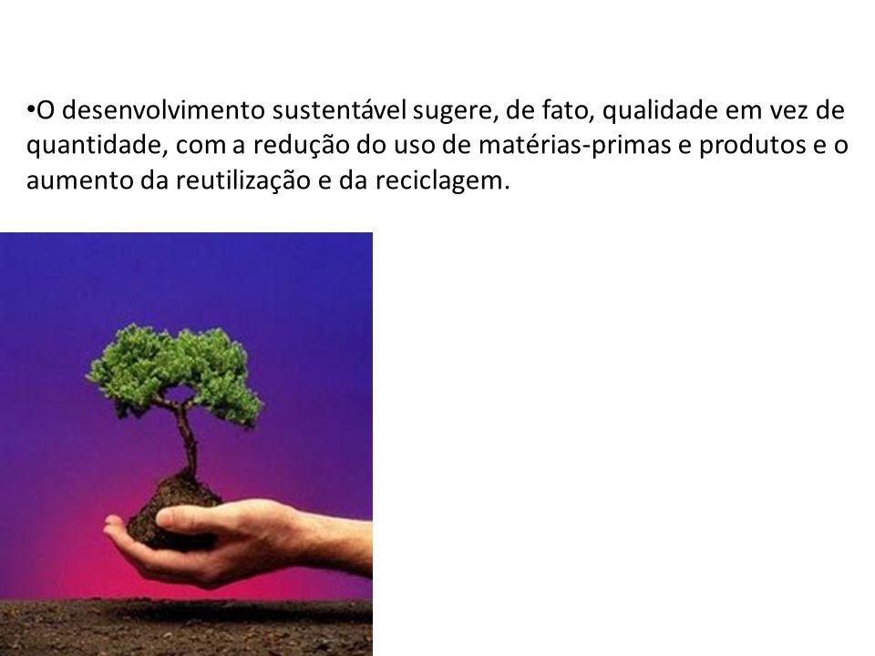 O desenvolvimento sustentável sugere, de fato, qualidade em vez de quantidade, com a redução do uso de matérias-primas e produtos e o aumento da reuti