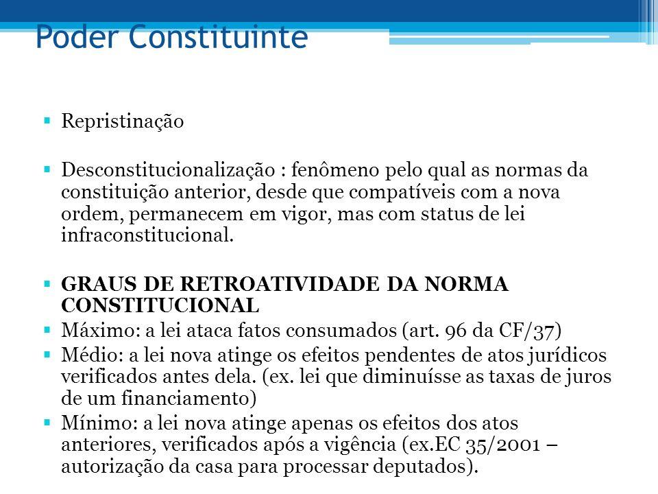 Poder Constituinte Repristinação Desconstitucionalização : fenômeno pelo qual as normas da constituição anterior, desde que compatíveis com a nova ord