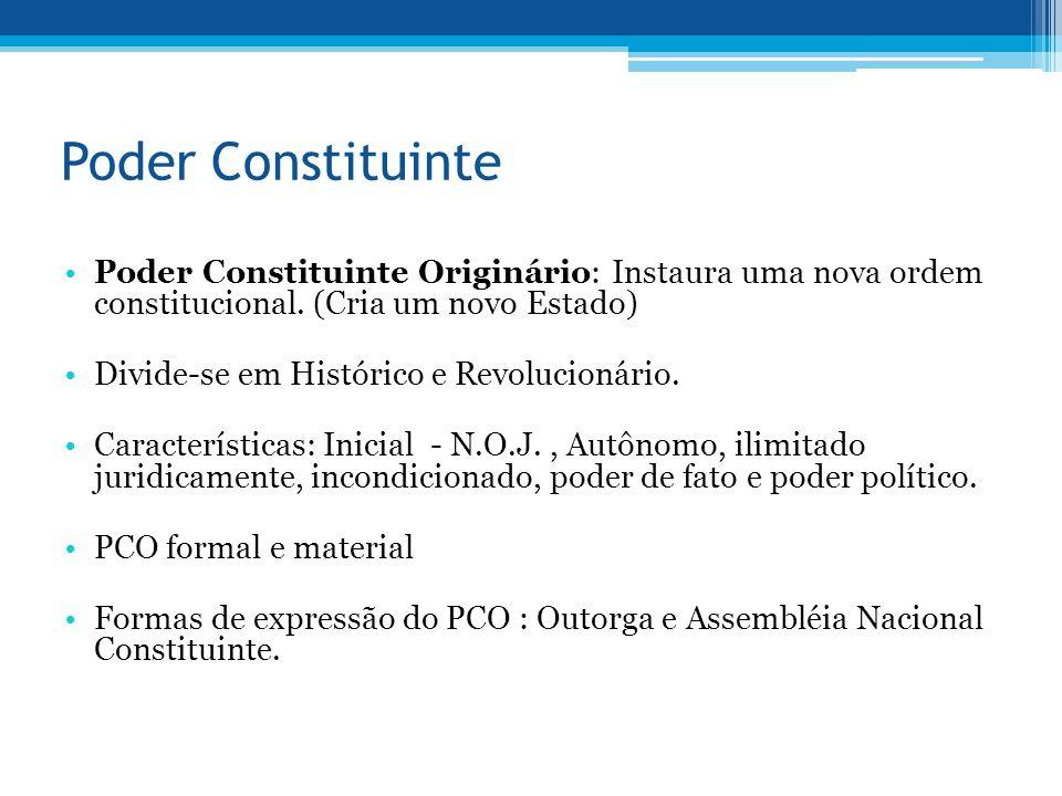 Poder Constituinte Poder Constituinte Originário: Instaura uma nova ordem constitucional. (Cria um novo Estado) Divide-se em Histórico e Revolucionári