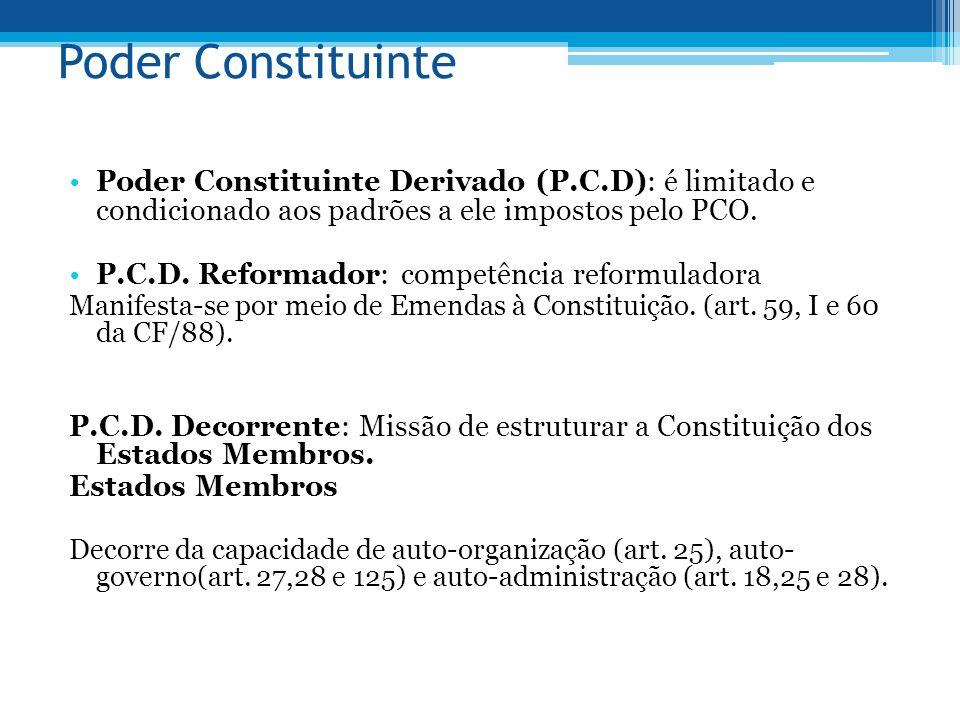 Poder Constituinte Poder Constituinte Derivado (P.C.D): é limitado e condicionado aos padrões a ele impostos pelo PCO. P.C.D. Reformador: competência