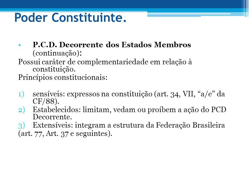 Poder Constituinte P.C.D.Decorrente (continuação) : Municípios, DF e territórios federais.