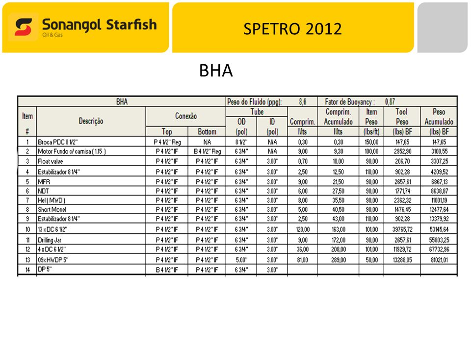 SPETRO 2012 BHA