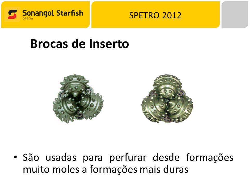 SPETRO 2012 Brocas de Inserto São usadas para perfurar desde formações muito moles a formações mais duras