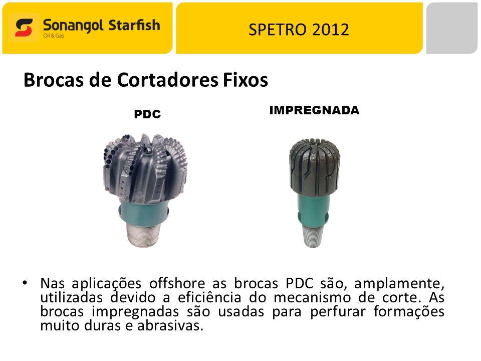 SPETRO 2012 PDC Brocas de Cortadores Fixos IMPREGNADA Nas aplicações offshore as brocas PDC são, amplamente, utilizadas devido a eficiência do mecanismo de corte.