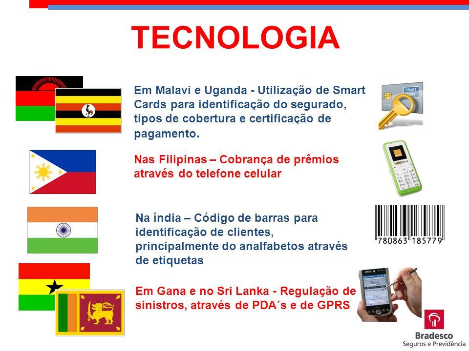 Em Malavi e Uganda - Utilização de Smart Cards para identificação do segurado, tipos de cobertura e certificação de pagamento. Nas Filipinas – Cobranç