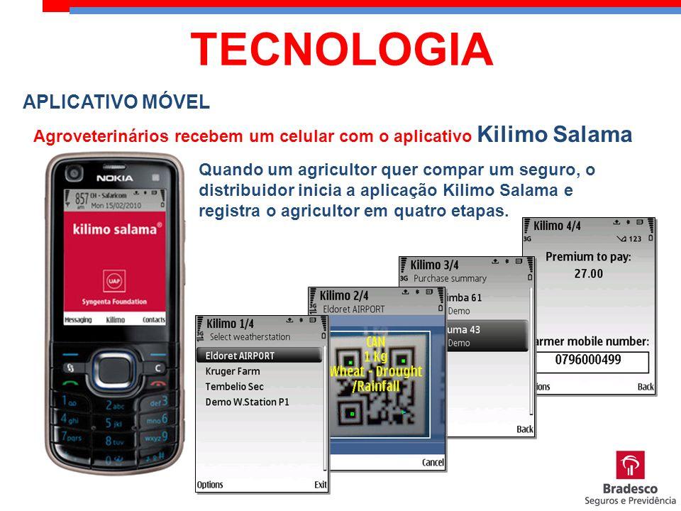 APLICATIVO MÓVEL Agroveterinários recebem um celular com o aplicativo Kilimo Salama Quando um agricultor quer compar um seguro, o distribuidor inicia