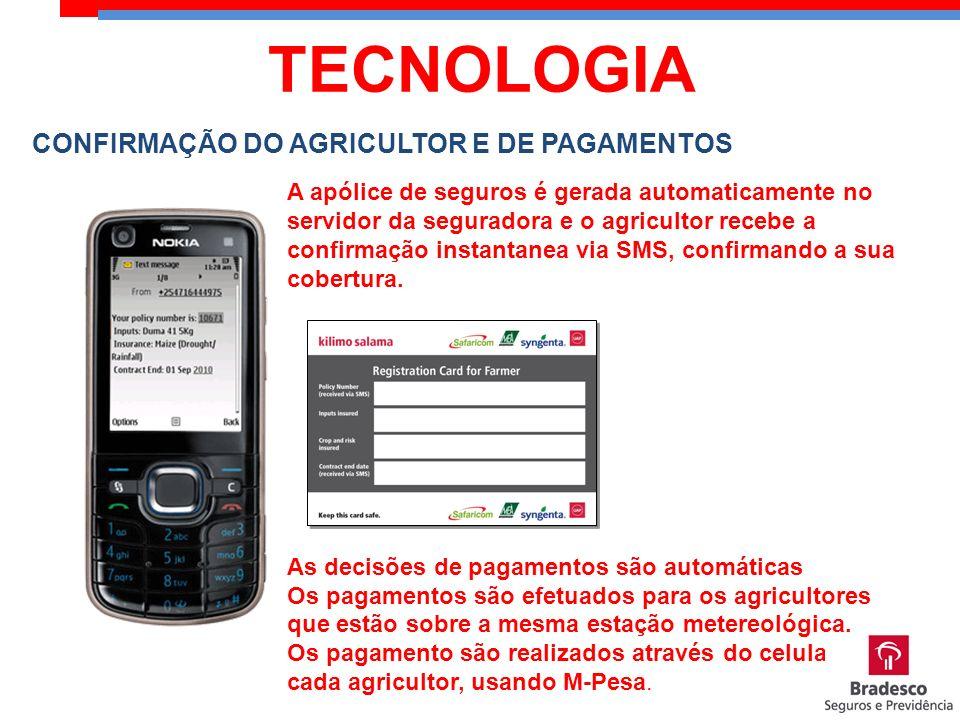 A apólice de seguros é gerada automaticamente no servidor da seguradora e o agricultor recebe a confirmação instantanea via SMS, confirmando a sua cob