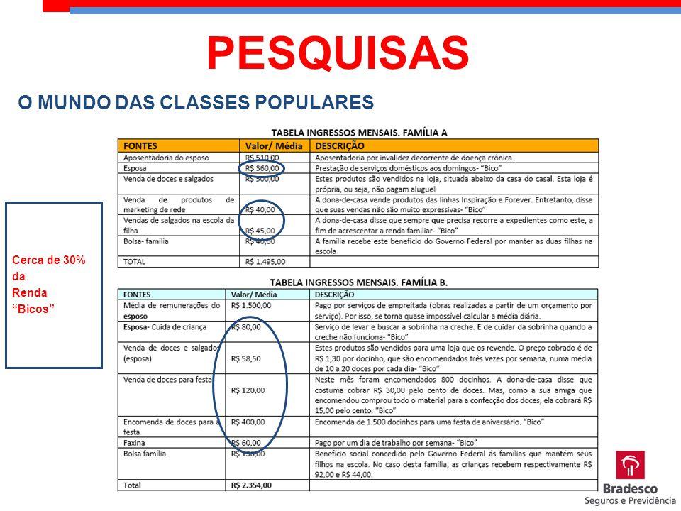 O MUNDO DAS CLASSES POPULARES Fonte: IMR Cerca de 30% da Renda Bicos PESQUISAS