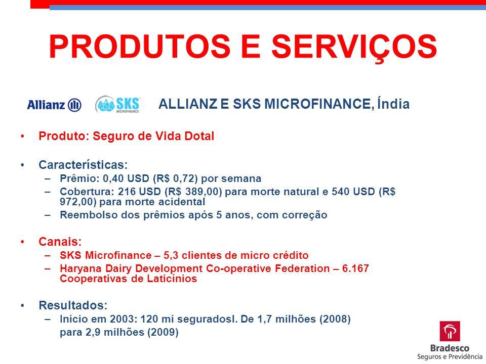 Produto: Seguro de Vida Dotal Características: –Prêmio: 0,40 USD (R$ 0,72) por semana –Cobertura: 216 USD (R$ 389,00) para morte natural e 540 USD (R$