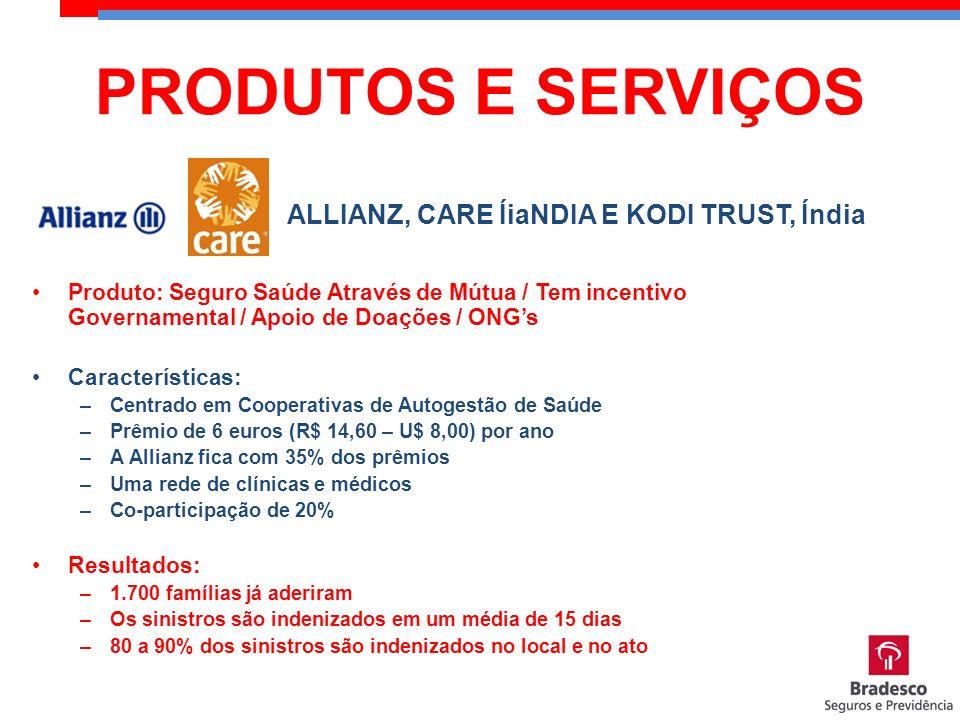 Produto: Seguro Saúde Através de Mútua / Tem incentivo Governamental / Apoio de Doações / ONGs Características: –Centrado em Cooperativas de Autogestã