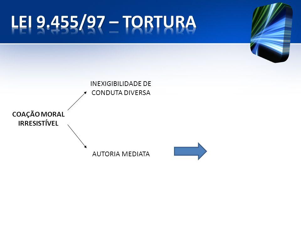 INEXIGIBILIDADE DE CONDUTA DIVERSA COAÇÃO MORAL IRRESISTÍVEL AUTORIA MEDIATA