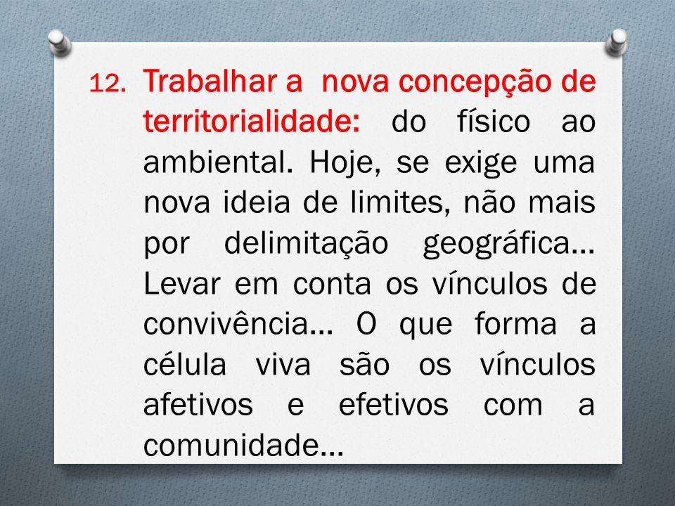 12.Trabalhar a nova concepção de territorialidade: do físico ao ambiental.