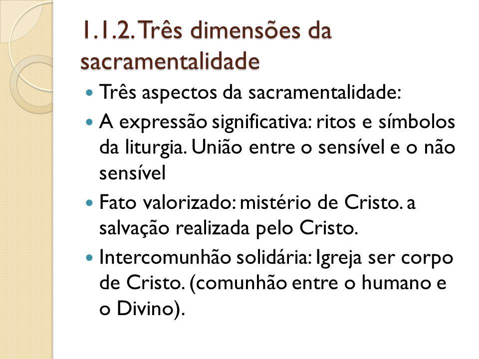 1.1.2. Três dimensões da sacramentalidade Três aspectos da sacramentalidade: A expressão significativa: ritos e símbolos da liturgia. União entre o se