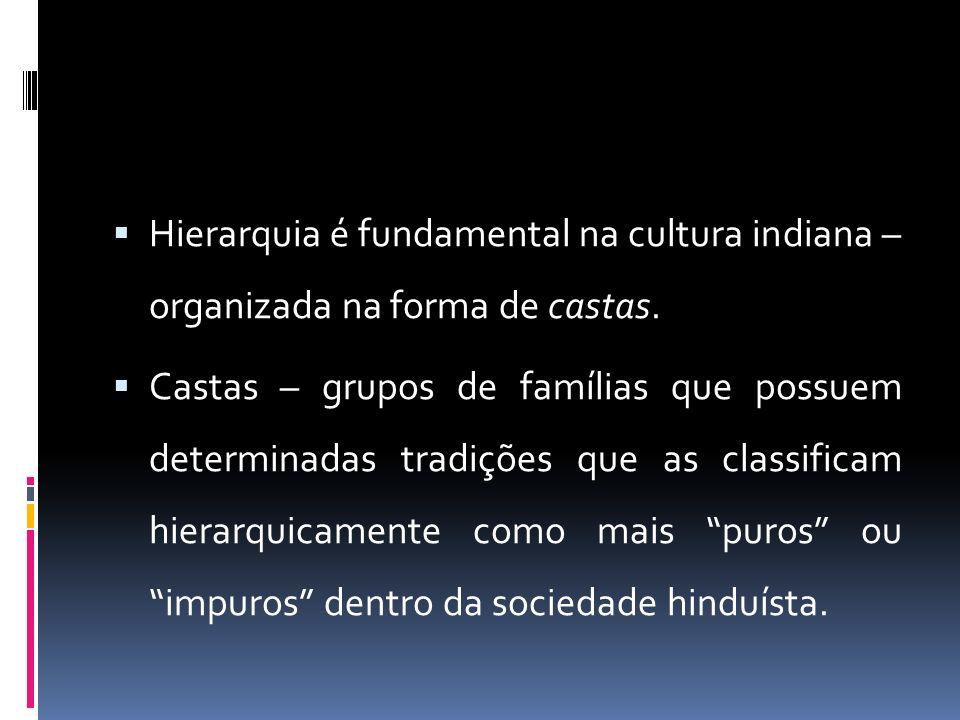 Hierarquia é fundamental na cultura indiana – organizada na forma de castas.
