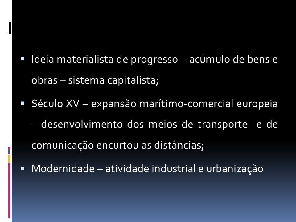 Ideia materialista de progresso – acúmulo de bens e obras – sistema capitalista; Século XV – expansão marítimo-comercial europeia – desenvolvimento dos meios de transporte e de comunicação encurtou as distâncias; Modernidade – atividade industrial e urbanização