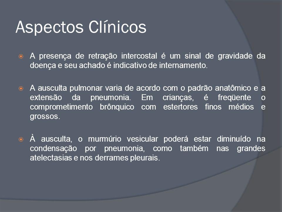 Aspectos Clínicos A presença de retração intercostal é um sinal de gravidade da doença e seu achado é indicativo de internamento. A ausculta pulmonar