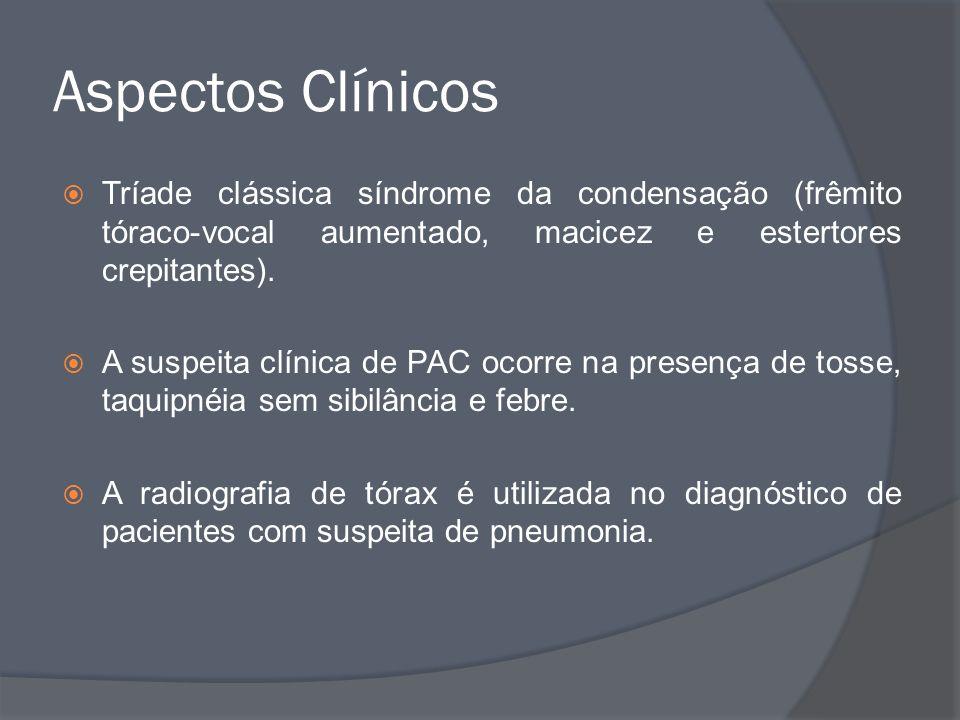 Aspectos Clínicos Tríade clássica síndrome da condensação (frêmito tóraco-vocal aumentado, macicez e estertores crepitantes). A suspeita clínica de PA