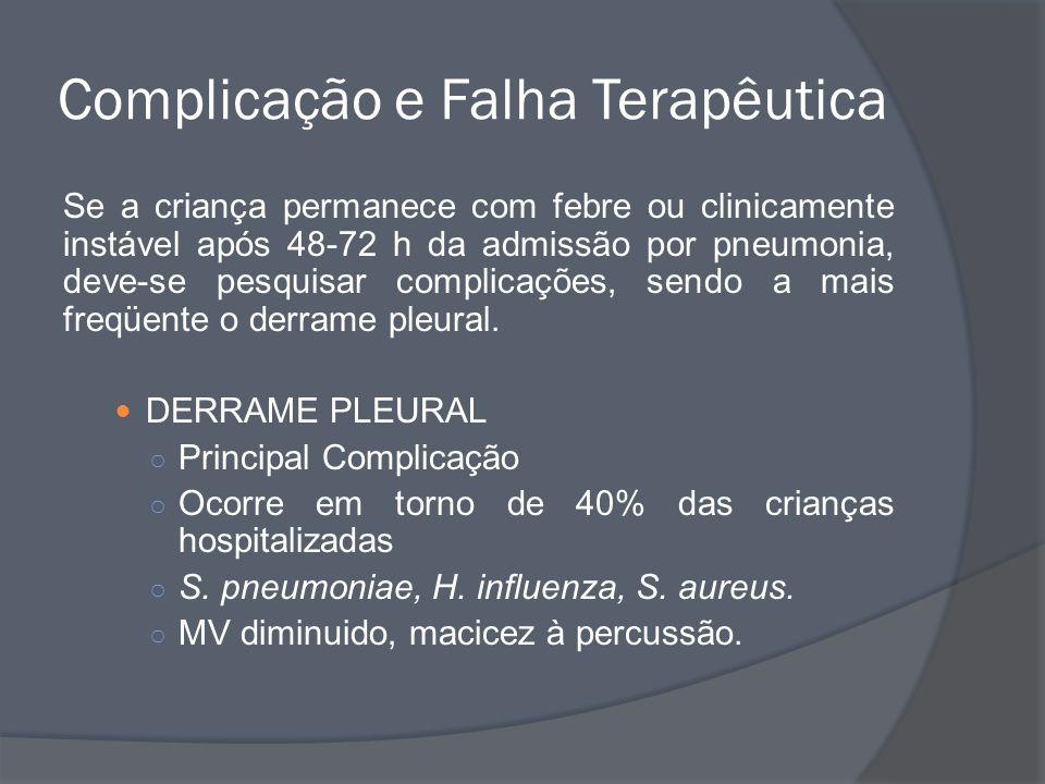 Complicação e Falha Terapêutica Se a criança permanece com febre ou clinicamente instável após 48-72 h da admissão por pneumonia, deve-se pesquisar co