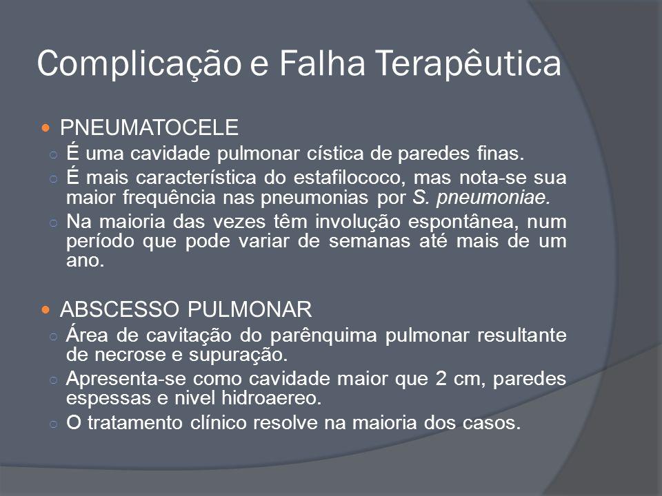 PNEUMATOCELE É uma cavidade pulmonar cística de paredes finas. É mais característica do estafilococo, mas nota-se sua maior frequência nas pneumonias