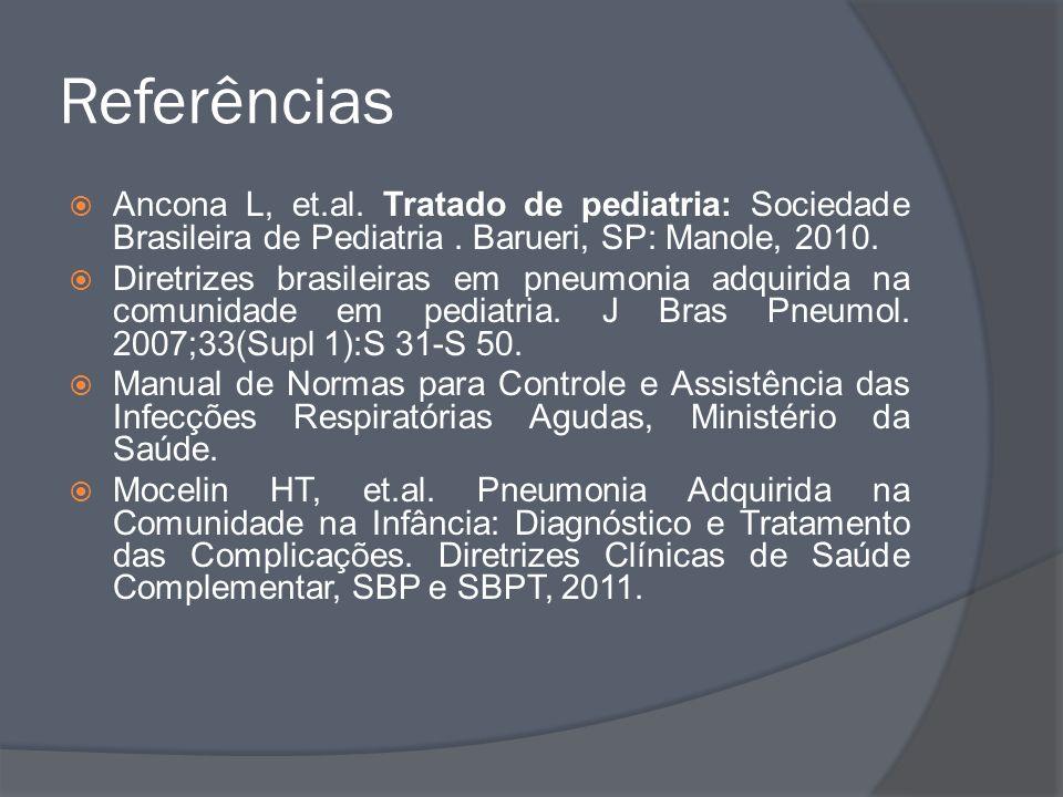 Referências Ancona L, et.al. Tratado de pediatria: Sociedade Brasileira de Pediatria. Barueri, SP: Manole, 2010. Diretrizes brasileiras em pneumonia a