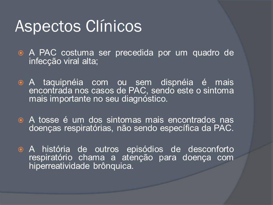Aspectos Clínicos A PAC costuma ser precedida por um quadro de infecção viral alta; A taquipnéia com ou sem dispnéia é mais encontrada nos casos de PA
