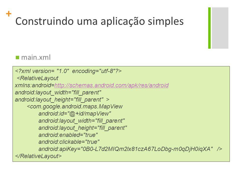 + Construindo uma aplicação simples main.xml <RelativeLayout xmlns:android=http://schemas.android.com/apk/res/android http://schemas.android.com/apk/r