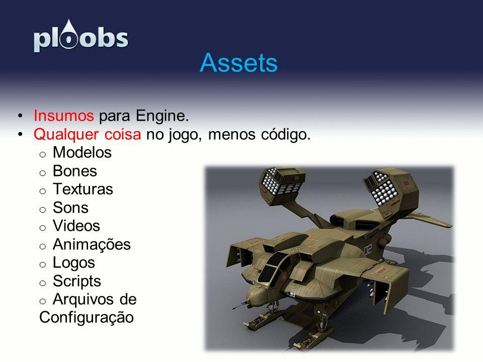Page 16 Assets Insumos para Engine. Qualquer coisa no jogo, menos código. o Modelos o Bones o Texturas o Sons o Videos o Animações o Logos o Scripts o