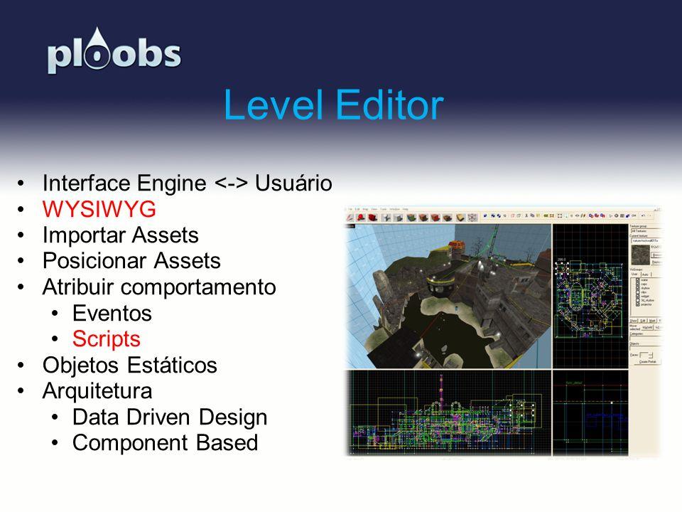 Page 19 Level Editor Interface Engine Usuário WYSIWYG Importar Assets Posicionar Assets Atribuir comportamento Eventos Scripts Objetos Estáticos Arqui