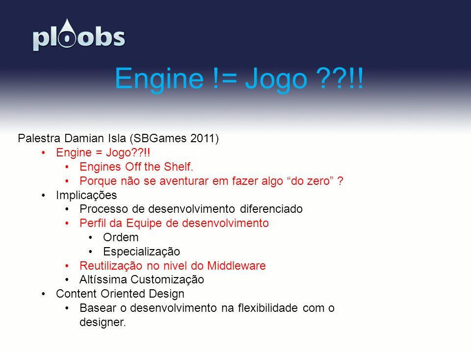 Page 21 Engine != Jogo ??!! Palestra Damian Isla (SBGames 2011) Engine = Jogo??!! Engines Off the Shelf. Porque não se aventurar em fazer algo do zero
