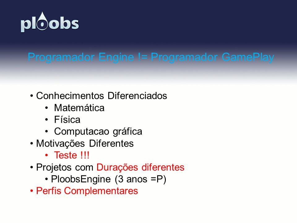 Page 22 Programador Engine != Programador GamePlay Conhecimentos Diferenciados Matemática Física Computacao gráfica Motivações Diferentes Teste !!! Pr